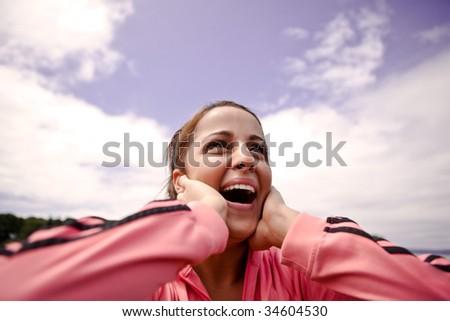 A beautiful asian woman happy in joy