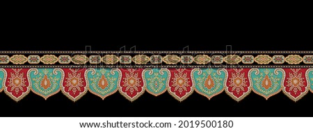 A beautiful Baroque Ornament style border design handmade artwork pattern with watercolor, repeat floral texture, vintage hand drawing.