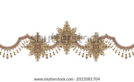 A beautiful Baroque Ornament style border design handmade artwork pattern with watercolor, repeat floral texture, vintage hand drawing