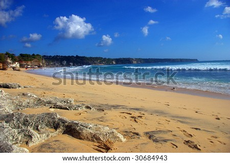 A beautiful beach on a hot and sunny day, Dreamland beach, Bali.