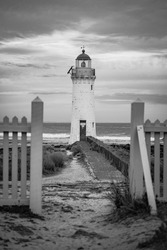 A beautiful black and white photo of a lighthouse