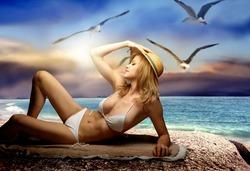 a beautiful blond woman in bikini  and three seagulls at sea