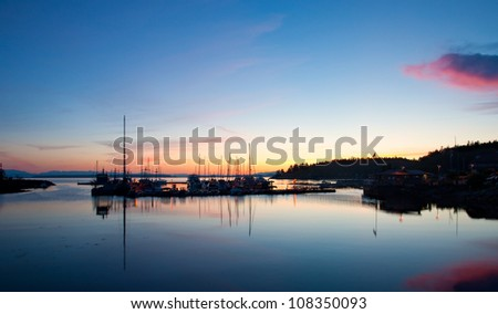 A beautiful blue hour over the Lund Harbor in British Columbia, Canada.