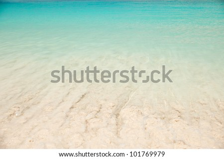 A beautiful blue sea from above with wave on a beach, Andaman sea, Tachai island, south of Thailand, South east of Asia