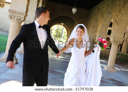 A beautiful bride and groom  at church wedding