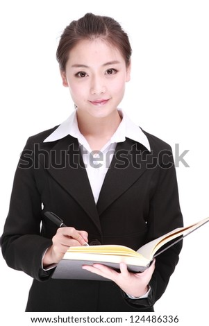 A Beautiful Business woman Isolated On a White background.