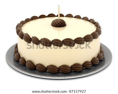 A beautiful cake on a white background