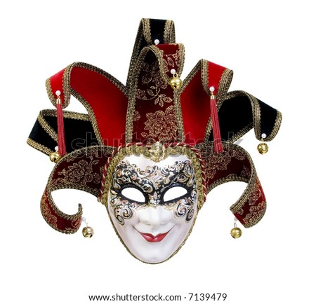 A beautiful carnivale mask from venice Italy. Isolated on white