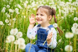 a beautiful cheerful funny girl with two tails sits on a field with dandelions and laughs.