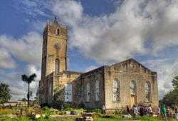 A beautiful church and cemetry in the country of Jamaica