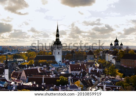 A beautiful city of Tallinn and the tower of the church of the Holy Spirit Stock fotó ©