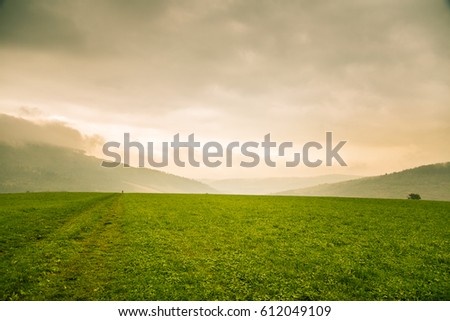 A beautiful, colorful, abstract mountain landscape with a hot summer haze in warm green tonality. Decorative, artistic look.