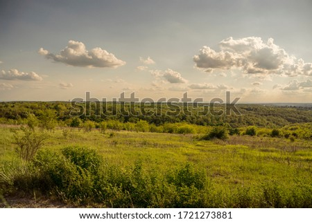 A beautiful countryside scene, with green fields and blue skies featuring a few clouds Сток-фото ©