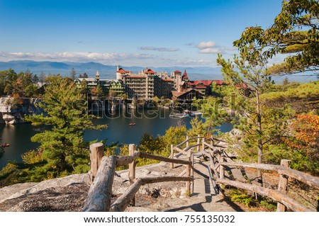 A beautiful, crisp, autumn day on Mohonk Mountain in upstate New York. The leaves had just started turning brilliant blends of yellow, red, and orange.