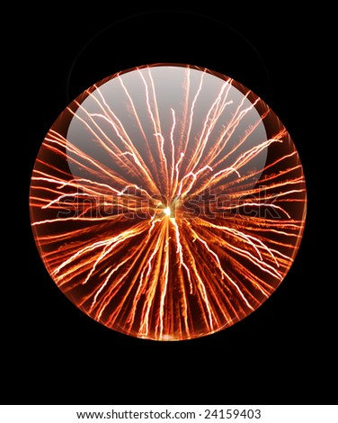 A beautiful crystal ball, there is picture of fireworks in it.