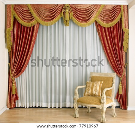 Beautiful curtain in a luxury living room stock photo 77910967