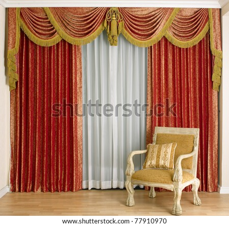 A Beautiful Curtain In A Luxury Living Room Stock Photo 77910970 ...