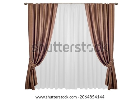 A beautiful curtain with a catch. Isolated white background.