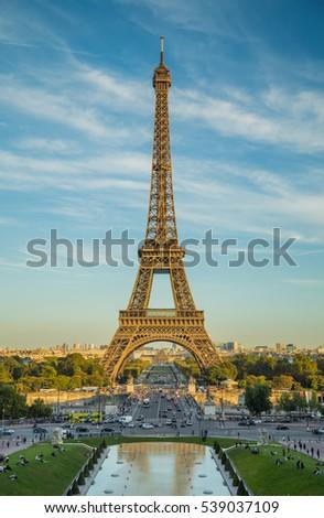 A beautiful day in Paris near the Eiffel Tower.Travel to Paris.  Beautiful landscape in the Eiffel Tower, Paris.  stock photo