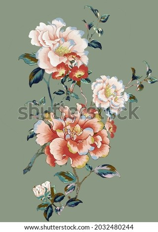 A beautiful Digital Flowers Motif  Design watercolor illustration. Manual composition.Design for cover, fabric, textile, wrapping paper