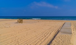A beautiful empty beach in the Black Sea town of Kiyikoy in Northwestern Turkey