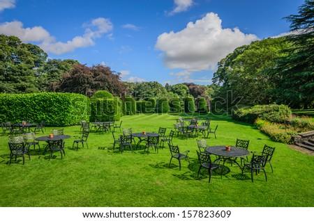 A beautiful English garden set up for a  tea party