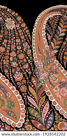 A beautiful ethnic floral paisley with one side repeat for creating border design.