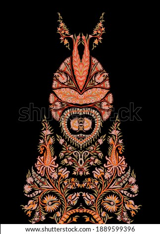 A beautiful ethnic paisley illustration on black. Amazing motif for apparel digital print. HD motif for digital textile design with elegant colour scheme.