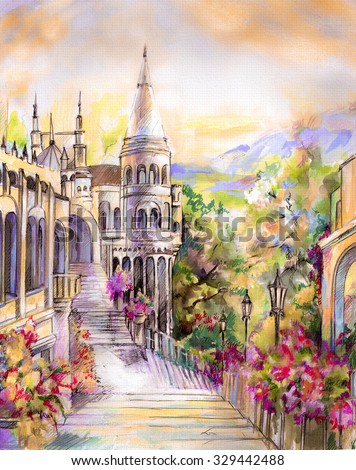 A beautiful fairy tale castle in the open architecture in a landscape in warm tones. Hand illustration on paper.