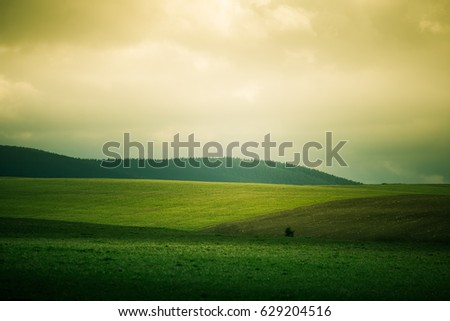 A beautiful field scenery of Slovakia. Warm summer haze, colorful contrast look.  #629204516