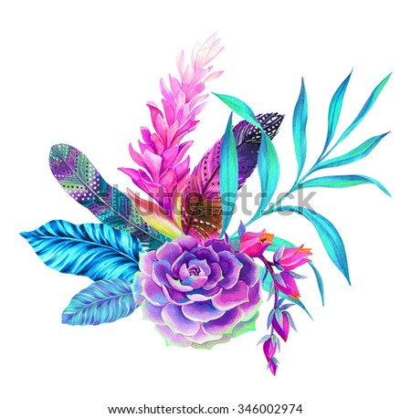 a beautiful floral bouquet with feathers. Very detailed botanical illustrations, with bohemian decorated feathers. succulents, palms, flowers.