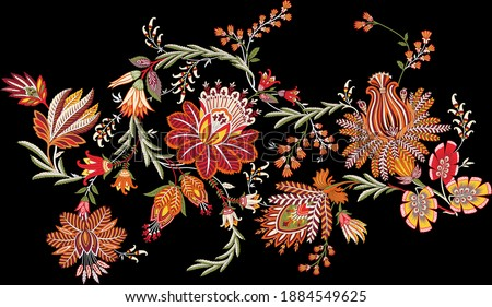 A beautiful floral composition for creating border or creating a repeat on black. Elegant colour scheme.
