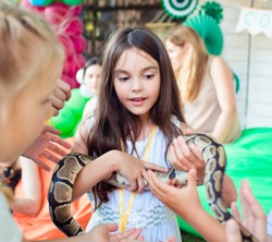 A beautiful girl is holding a python snake on her hands.