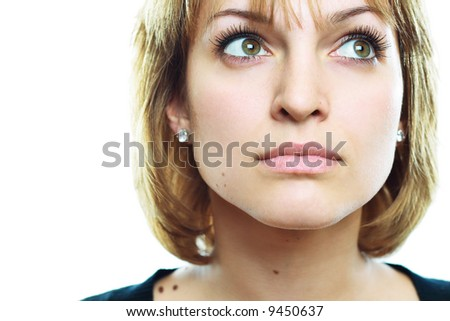 A beautiful girl, with fantastic eyes, look up - stock photo
