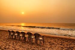 A beautiful golden sun rise in puri, odisha, India