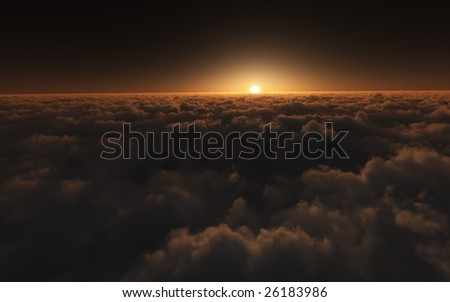 A beautiful golden sunset above the clouds