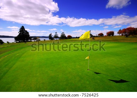 A beautiful Golf Course Green on a lovely sunny day
