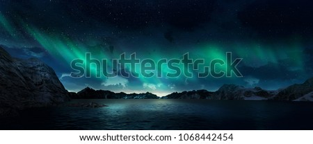 A beautiful green and red aurora dancing over the hills #1068442454
