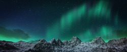 A beautiful green and red aurora dancing over the hills, panorama view.