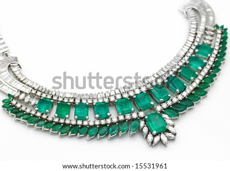 A beautiful green emerald necklace with diamonds