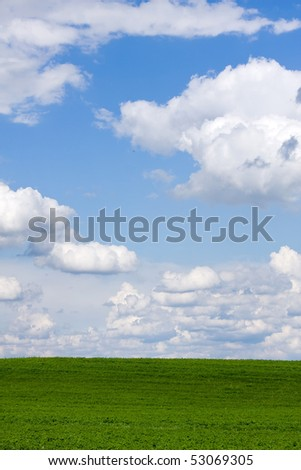 A beautiful green field with white clouds
