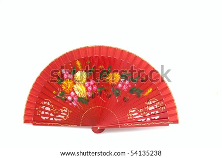 A beautiful hand-painted fan from Spain on the white background