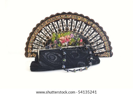 A beautiful hand-painted fan from Spain with black handbag