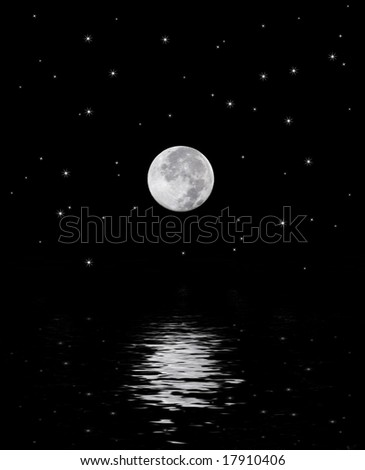 A beautiful harvest moon over a star filled sky reflecting off the water.