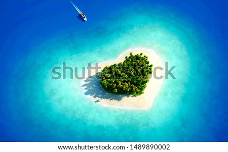 A beautiful heart shaped island is beautiful to behold on the green trees of the island. The sea water around the island is very blue. A boat is approaching the island.
