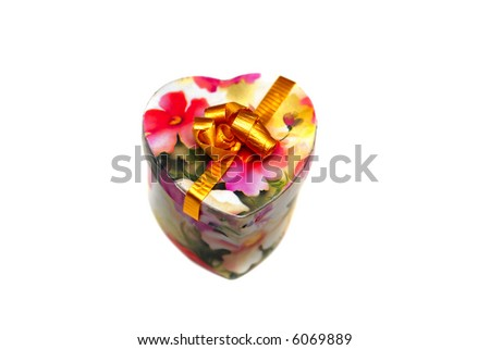 A beautiful heart shaped valentine gift isolated on white