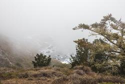 A beautiful high angle shot of a sea coastline engulfed in mist