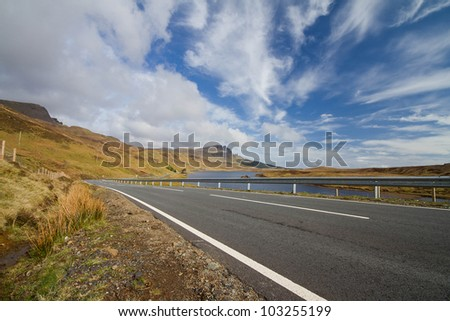 A beautiful highway road in the blue sky day : Highland of Scotland