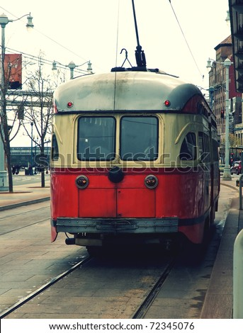 A beautiful historic tram still operating in the streets of San Francisco. USA.
