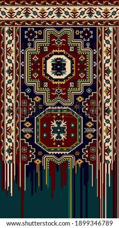 A beautiful illustration of a carpet design for print. Fantastic colour scheme in geometrical design.